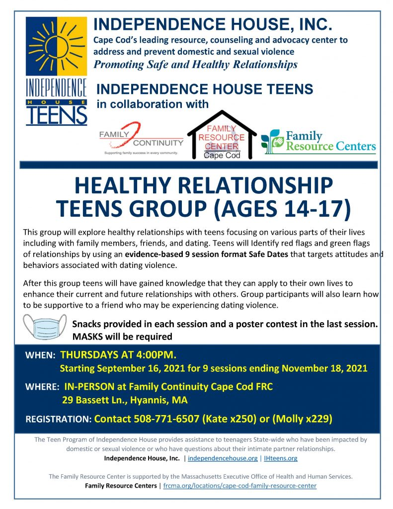 Healthy Relationship Teen Group @ Family Continuity Cape Cod